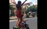 E-bike girl rider fails trick
