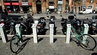 Broken bicycles stand parked at an abandoned bike sharing parking station in Rome. The failure of bike sharing is an embarrassment to Mayor Ignazio Marino who bikes to work and was elected on a platform that included better mobility and less traffic. Phot