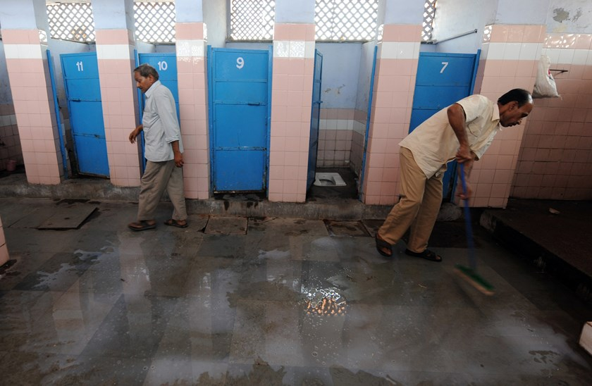 A toilet complex run by an NGO Sulabh International at a railway station in New Delhi. Photo credit: AFP