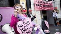 Demonstrators protest on Oct. 4, 2013, against the closure and eviction of sex workers from the premises they use in London's Soho.