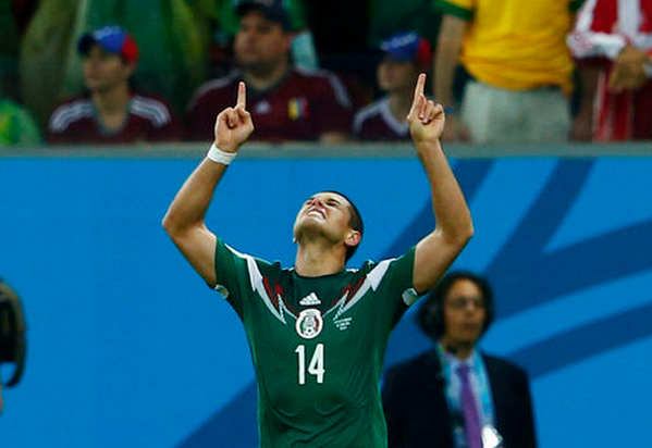 Mexico's Javier Hernandez celebrates after scoring a goal during their 2014 World Cup Group A soccer match against Croatia at the Pernambuco Arena in Recife June 23, 2014.