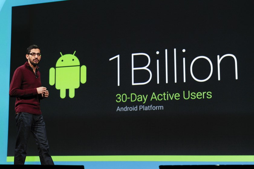 Sundar Pichai, senior vice president of Android, Chrome and Apps for Google Inc., speaks during the Google I/O Annual Developers Conference in San Francisco, California, on June 24, 2014.