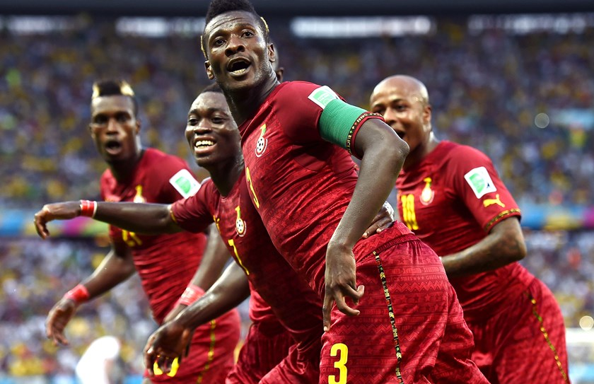 Asamoah Gyan of Ghana celebrates scoring his team's second goal during the 2014 FIFA World Cup Brazil Group G match against Germany at Castelao on June 21, 2014 in Fortaleza, Brazil.