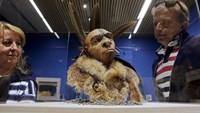 Visitors look at 'El Neandertal Emplumado', a scientificly based impression of the face of a Neanderthal who lived some 50,000 years ago during the exhibition 'Cambio de Imagen' (Change of Image) at the Museum of Human Evolution in Burgos, Spain. Neandert