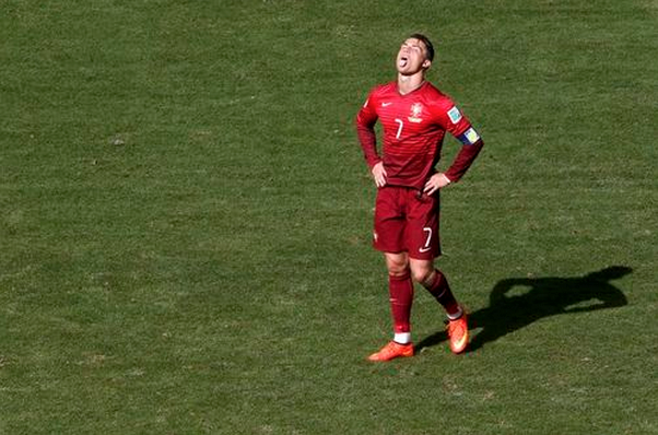 Portugal's Cristiano Ronaldo reacts during their 2014 World Cup Group G soccer match against Ghana at the Brasilia national stadium in Brasilia June 26, 2014.