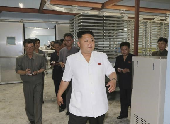North Korean leader Kim Jong Un visits the newly constructed Kalma Foodstuffs Factory in this undated photo released by North Korea's Korean Central News Agency (KCNA) to Reuters on June 29, 2014.