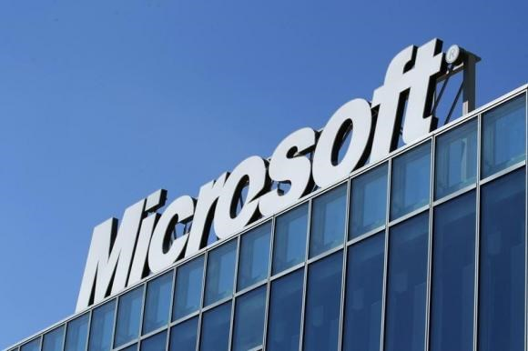The Microsoft logo is seen at their offices in Bucharest March 20, 2013.