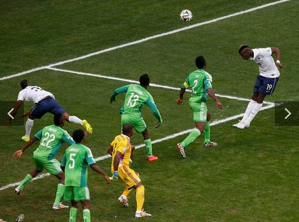 France's Paul Pogba (19) heads to score a goal against Nigeria during their 2014 World Cup round of 16 game at the Brasilia national stadium in Brasilia June 30, 2014.