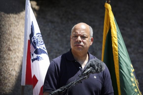 Department of Homeland Security Secretary Jeh Johnson speaks to the media at the Nogales Border Patrol Station in Nogales, Arizona June 25, 2014.