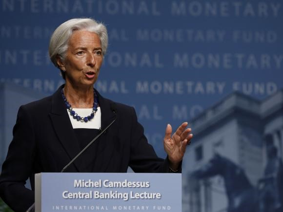 International Monetary Fund (IMF) Managing Director Christine Lagarde delivers opening remarks at the inaugural Michel Camdessus Central Banking Lecture in Washington July 2, 2014.