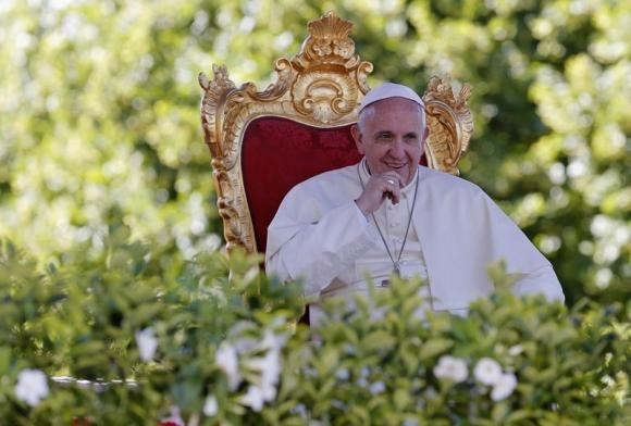 Pope Francis looks on as he leads a speech outside the Castelpetroso sanctuary, near Isernia, south of Italy, July 5, 2014.