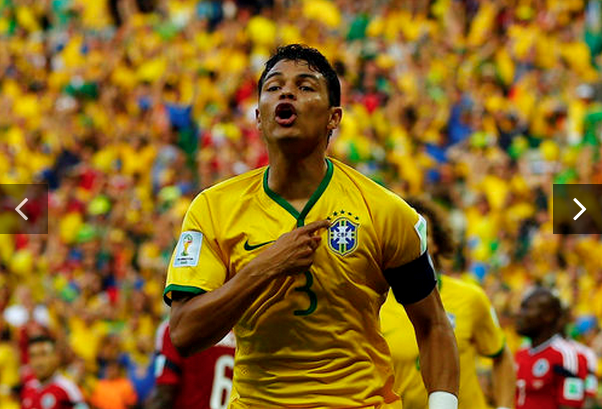 Brazil's Thiago Silva celebrates after scoring against Colombia during their 2014 World Cup quarter-finals at the Castelao arena in Fortaleza July 4, 2014.