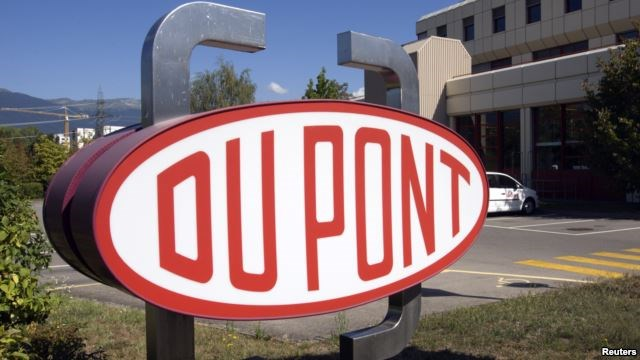 A DuPont logo is pictured on the research center in Meyrin near Geneva.
