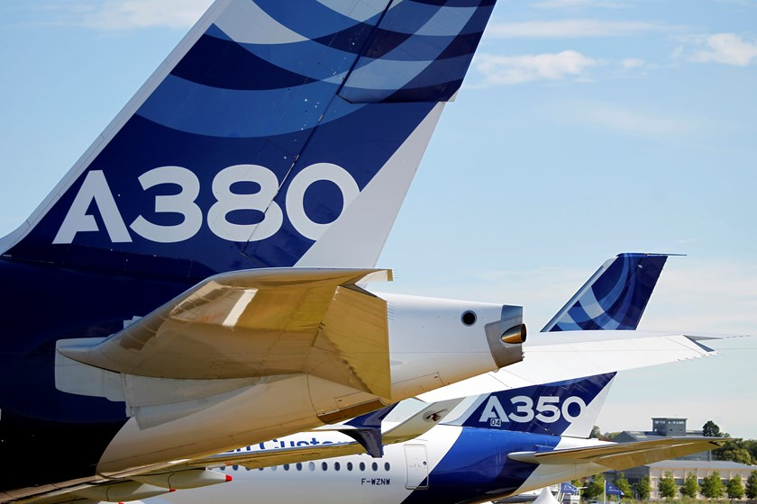 An Airbus A380 and an Airbus A350 on display on the first day of the Farnborough International Airshow.