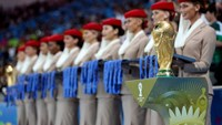 The World Cup trophy is presented during the award ceremony after the 2014 FIFA World Cup Brazil Final match between Germany and Argentina at Maracana on July 13 in Rio de Janeiro. Photo credit: Photograph by Friedemann Vogel/FIFA via Getty Images