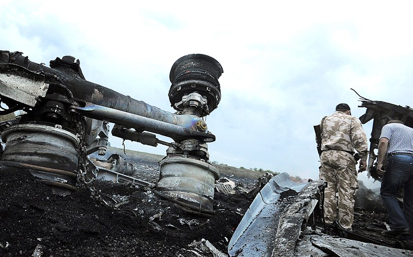 The wreckages of the malaysian airliner carrying 295 people from Amsterdam to Kuala Lumpur after it crashed, near the town of Shaktarsk, in rebel-held east Ukraine, on July 17, 2014.