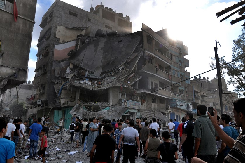 Israeli airstrikes in Gaza City's Assabra neighbourhood on July 18, 2014.