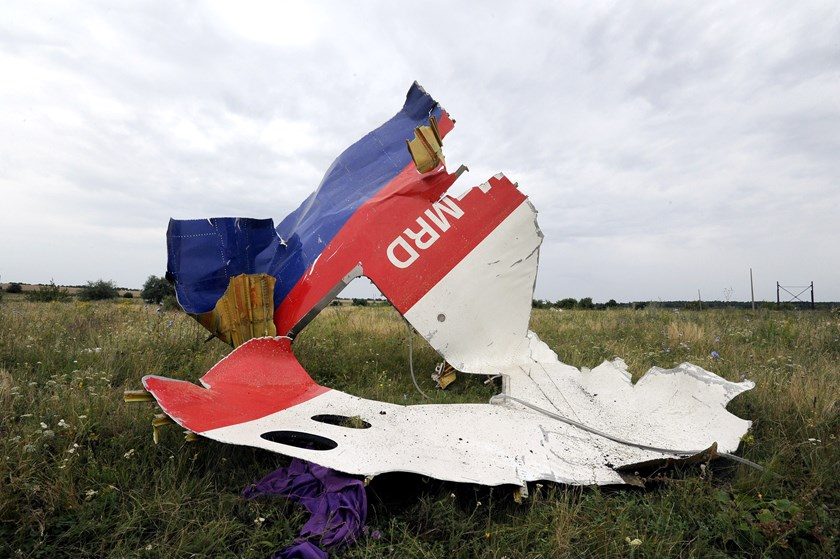 A piece of wreckage of the Malaysia Airlines flight MH17 on July 18, 2014 in Shaktarsk.