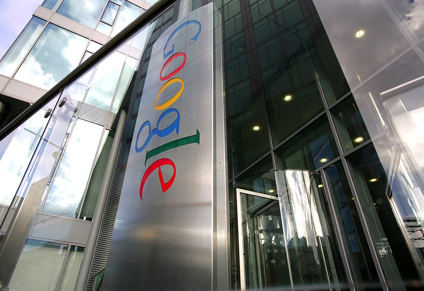 The Google Inc. company logo sits at their European headquarters in Dublin.
