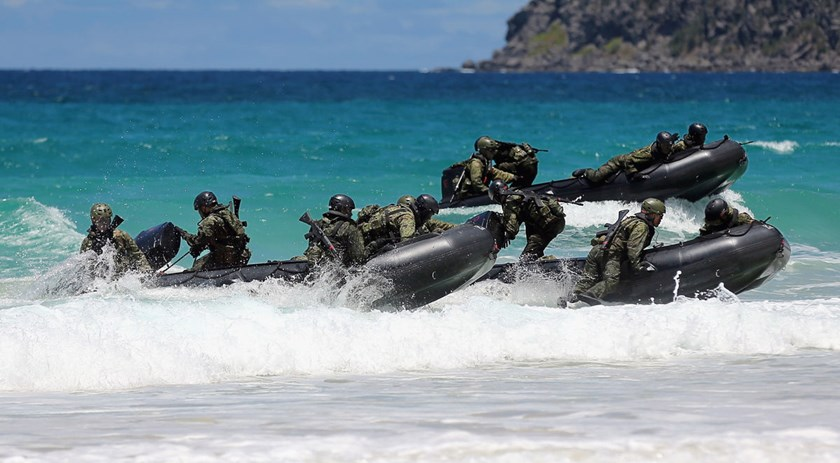 Japan Self-Defense Force members attend a landing operation as a part of the Rim of the Pacific exercises on July 1, 2014 in Kaneohe, Hawaii.