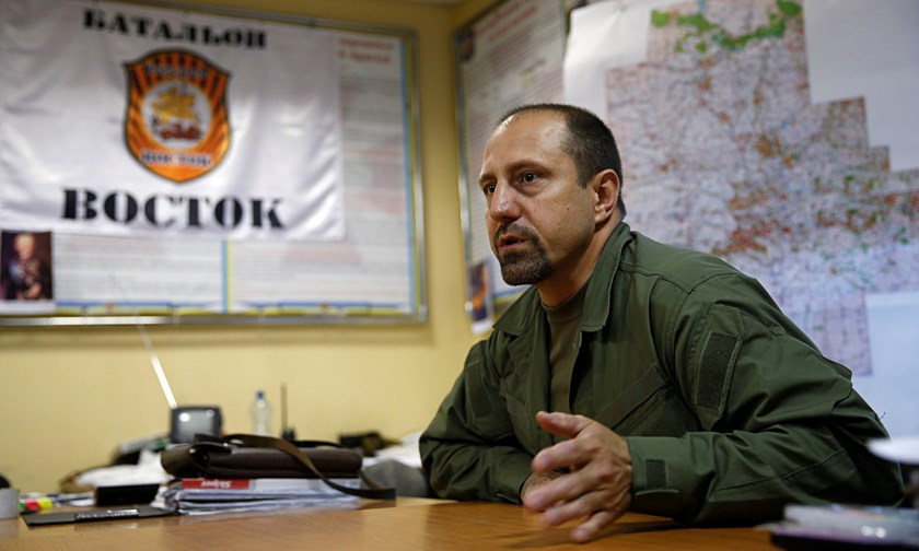 Rebel commander Alexander Khodakovsky of the so-called Vostok battalion - or eastern battalion - speaks during an interview in Donetsk, July 8, 2014.