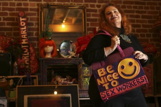 Carol Leigh, a long-time sex worker and advocate for decriminalizing prostitution, poses for a photograph in her office in San Francisco, California July 18, 2014.