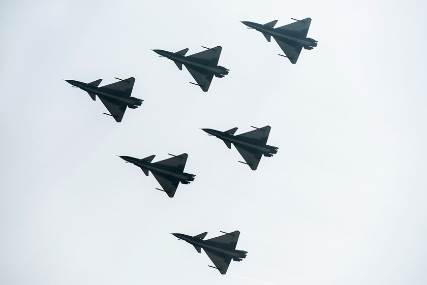 Chinese Air Force planes perform during the 9th China International Aviation and Aerospace Exhibition in Zhuhai on November 13, 2012.