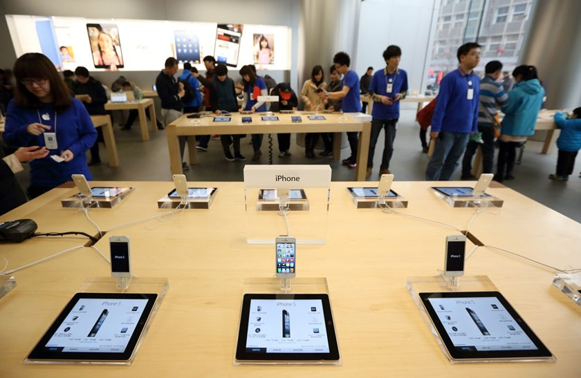 Apple Inc. iPads are displayed at the company's store in Beijing.