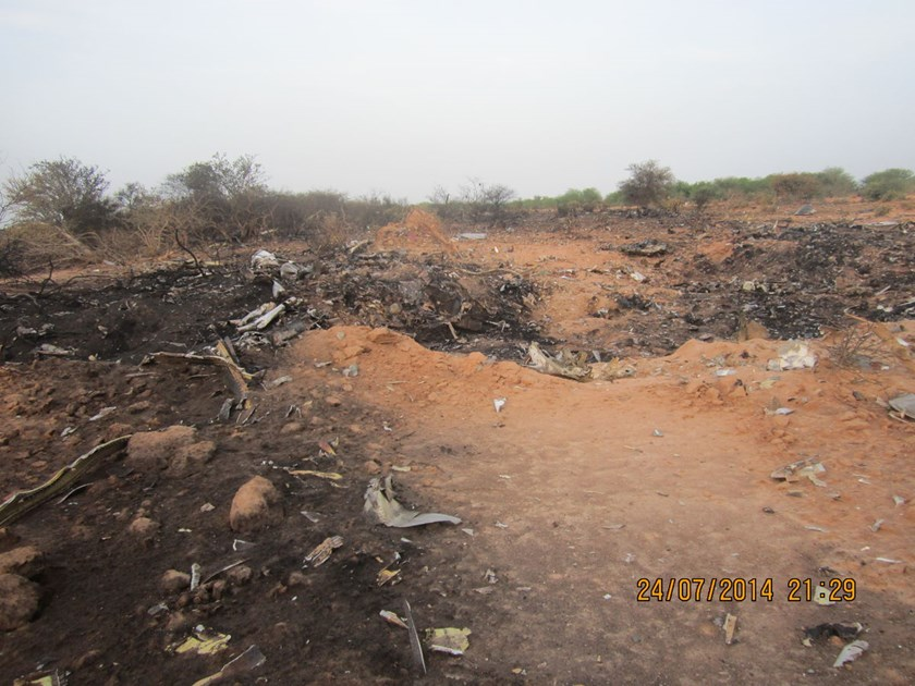 Debris is seen according to the Burkina Faso Army at the site of the Air Algerie Flight AH5017 crash in Mali en route to Algiers from Burkina Faso on July 24.
