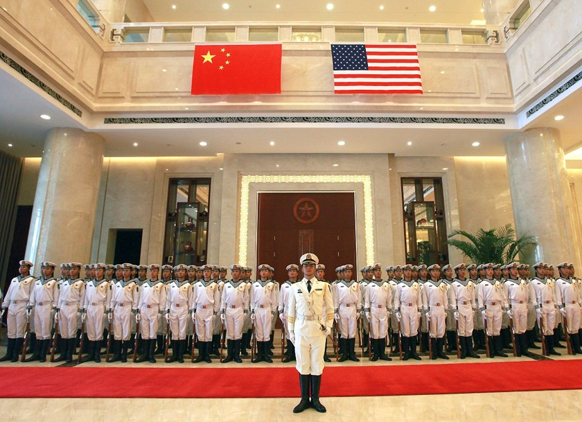 A military honor guard prepares for U.S. Chief of Naval Operations Adm. Jonathan Greenert's visit with Commander in Chief of the China's navy Adm. Wu Shengli at a welcome ceremony at the latter's navy headquarters outside of Beijing, China.