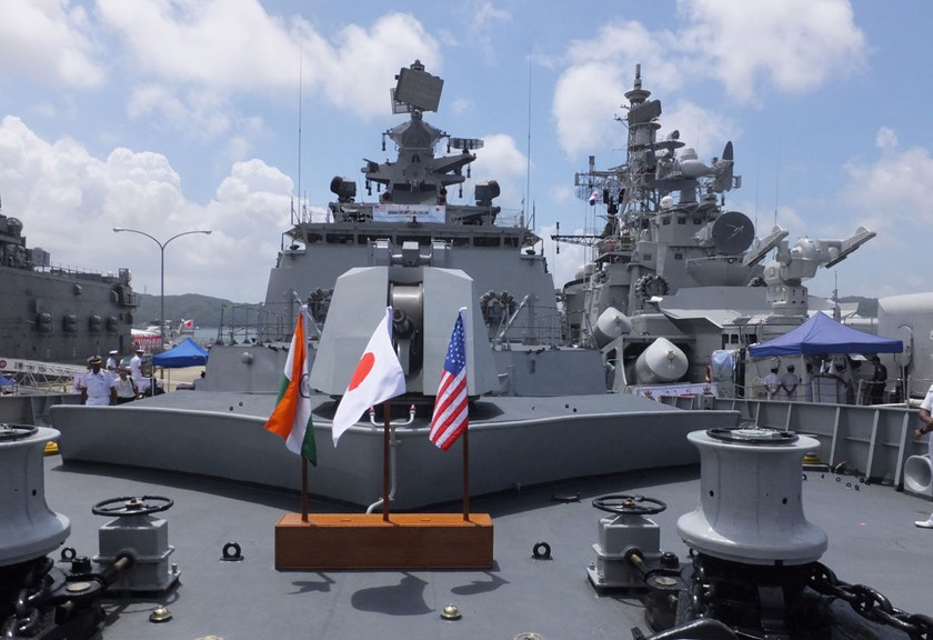 "The national flags of India, from left, Japan and the U.S. stand on Indian Navy ship ""Shivalik"" ahead of the three nations' joint naval exercises at the U.S. Fleet Activities Sasebo in Sasebo, Nagasaki, on July 24th, 2014."