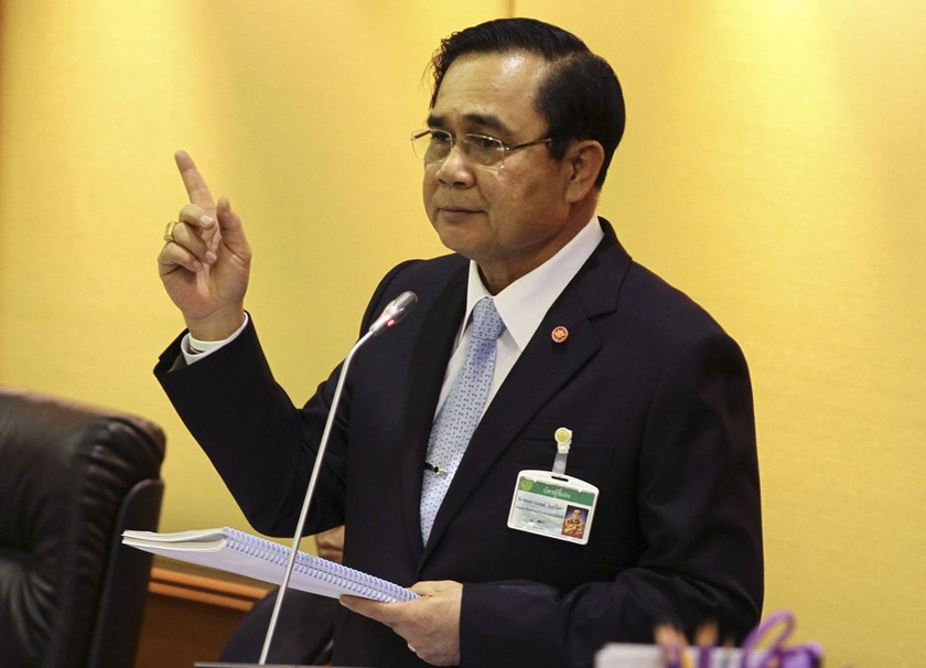 Prayuth Chan-Ocha, head of Thailand's junta, talks to members of the National Legislative Assembly at the Parliament in Bangkok, Thailand.
