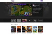The homepage of live-streaming gaming network Twitch Interactive.