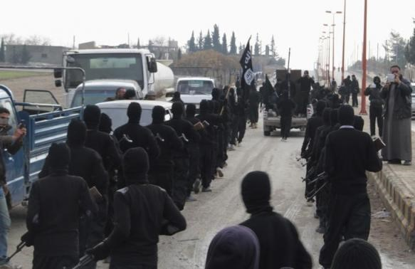 Fighters of al-Qaeda linked Islamic State of Iraq and the Levant parade at the Syrian town of Tel Abyad, near the border with Turkey January 2, 2014.