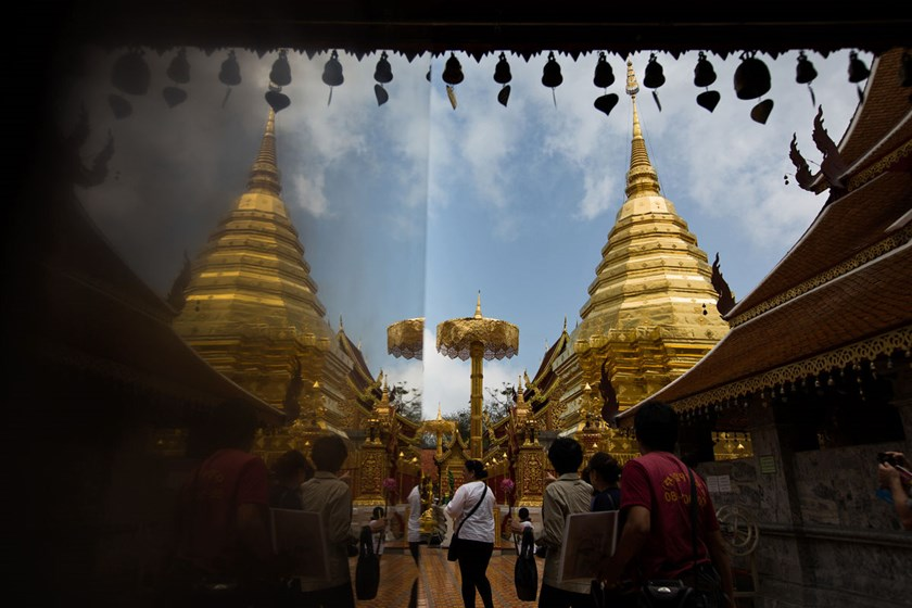 Visitors at the Wat Phrathat Doi Suthep temple in Chiang Mai, Thailand.