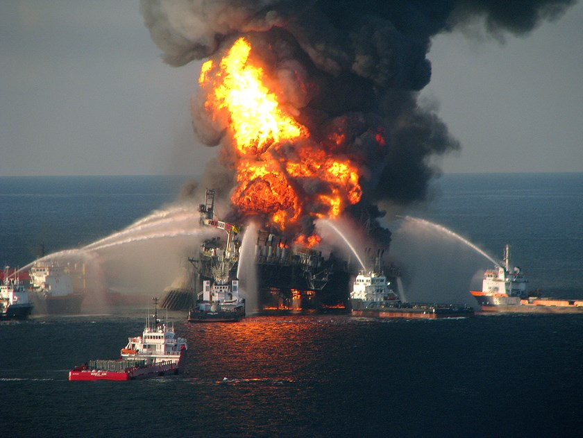In this handout image provided be the U.S. Coast Guard, fire boat response crews battle the blazing remnants of the off shore oil rig Deepwater Horizon in the Gulf of Mexico on April 21, 2010 near New Orleans, Louisiana. Photograph: U.S. Coast Guard via G