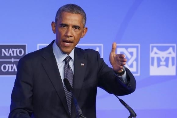 U.S. President Barack Obama speaks at a news conference on the second and final day of the NATO summit at the Celtic Manor resort, near Newport, in Wales September 5, 2014.