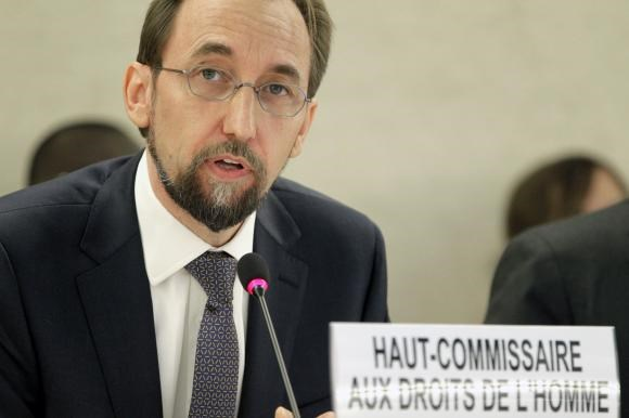 Newly appointed U.N. High Commissioner for Human Rights, Jordan's Prince Zeid Ra'ad Zeid al-Hussein speaks at the Human Rights Council at the United Nations Europeans headquarters in Geneva September 8, 2014.