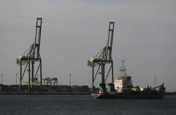 Cranes at Mariel port are seen on the outskirts of Havana August 20, 2014.