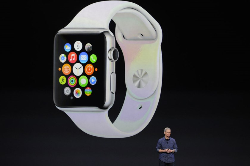 An Apple Watch is seen during an Apple event at the Flint Center in Cupertino, California, September 9, 2014.