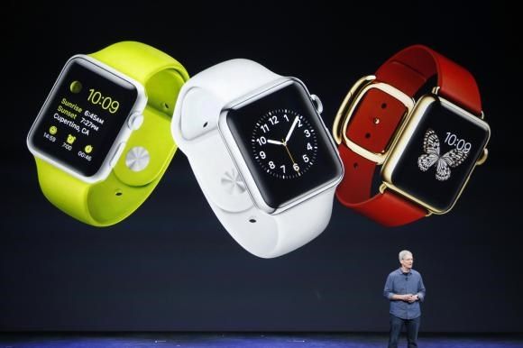 Apple CEO Tim Cook speaks about the Apple Watch during an Apple event at the Flint Center in Cupertino, California, September 9, 2014.