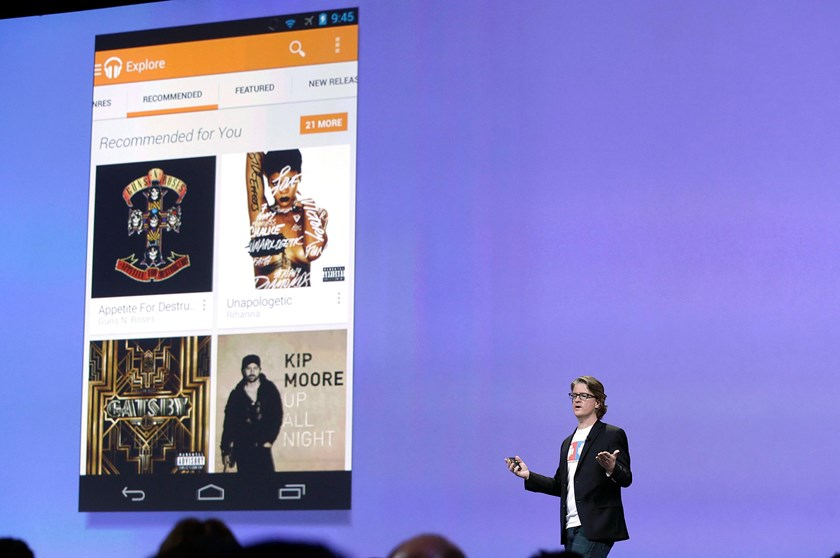 Chris Yerga, engineering director of Android, speaks about Google Play Music at Google I/O 2013 in San Francisco, on May 15, 2013.