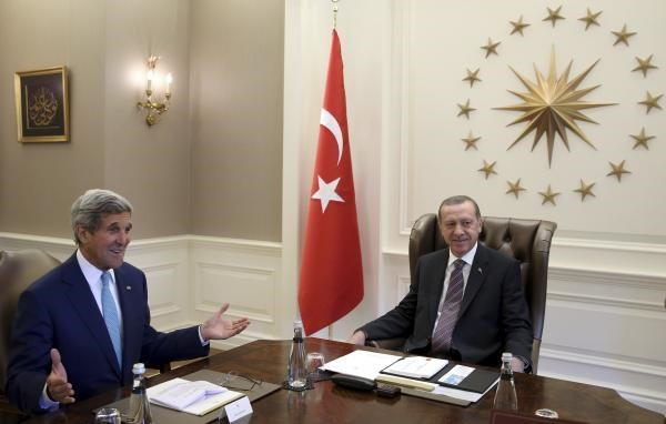 U.S. Secretary of State John Kerry (L) and Turkey's President Tayyip Erdogan meet in Ankara September 12, 2014.