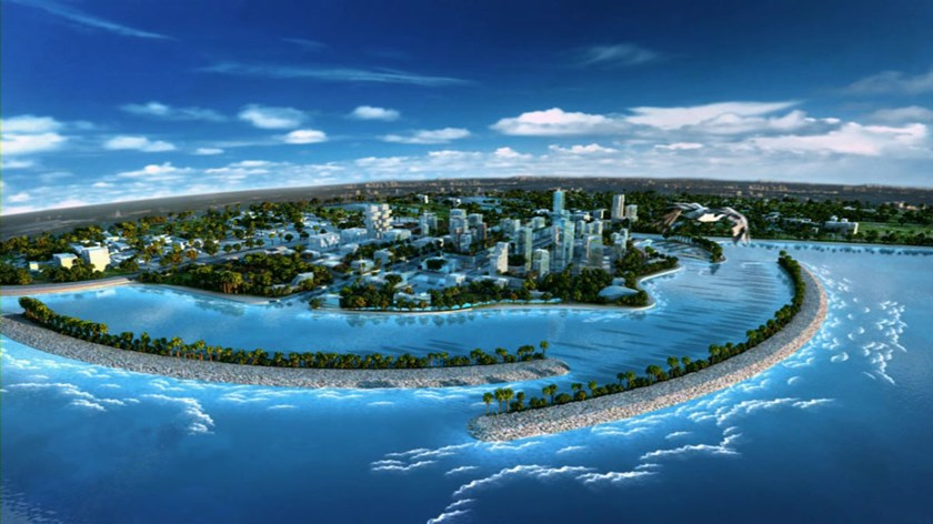 An artists impression of the planned Colombo Port City development near Colombo Port.