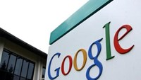 The logo of Google Inc. is seen outside their headquarters building in Mountain View, California August 18, 2004.