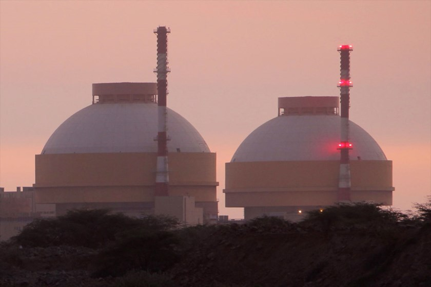 A nuclear power station at Kudankulam is seen from Tsunami Nagar, India. India plans six new units that would boost fission power output by 81 percent by 2030.