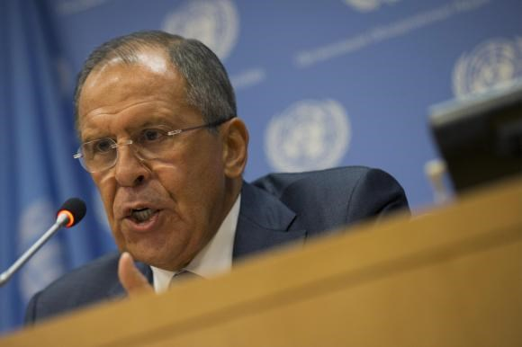 Russian Foreign Minister Sergei Lavrov speaks during a news conference on the sidelines of the the 69th U.N. General Assembly at U.N. Headquarters in New York, September 26, 2014.