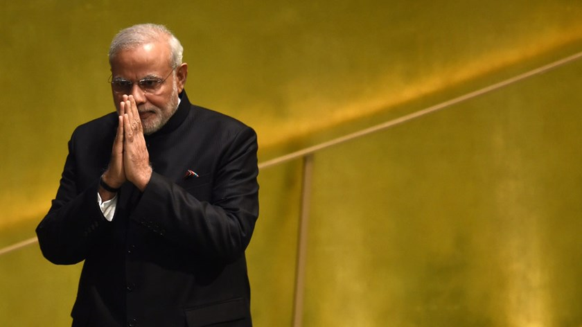 Narendra Modi, prime minister of the Republic of India, greets the 69th Session of the United Nations General Assembly in New York, on Sept. 27, 2014.