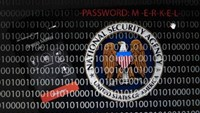 A mobile phone simulating a call to German Chancellor Angela Merkel next to a tablet computer showing the logo of the United States' National Security Agency (NSA) is seen in this multiple exposure picture illustration taken in Frankfurt October 28, 2013.