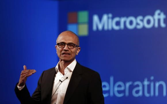 Microsoft Chief Executive Officer (CEO) Satya Nadella addresses the media during an event in New Delhi September 30, 2014.